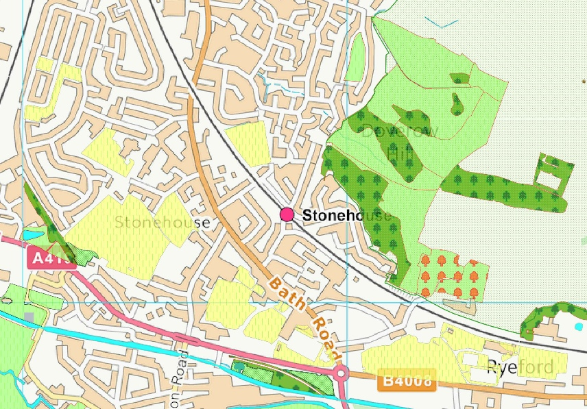part of the draft Neighbourhood Development Plan habitats and green space map for Stonehouse